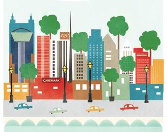 Nashville, TN art print illustration - 11x14 - city art poster Nashville