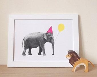 Elephant Print, Nursery Art, Girls Bedroom, Kids Room, Baby Room Art, Baby Room Decor, Fun Print, Party Animal Elephant A3 Digital Print