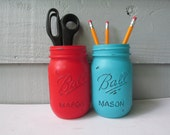 Painted and Distressed Ball Mason Jars- Red and Light Turquoise-Set of 2-Flower Vases, Rustic Wedding, Centerpieces