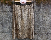 Tea dyed A-line Silk skirt, size S, upcycled skirt