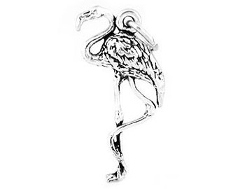 Sterling Silver Flamingo Bird Charm (3d Charm)