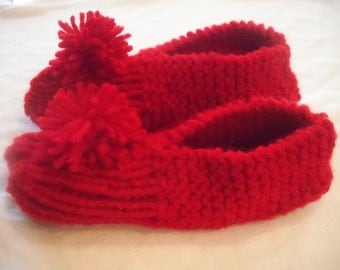 Child's Red Knitted Slippers