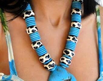 SALE handmade, bold, turqouise, necklace, western, style, large, pendant