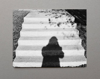 Shadow On Stone Steps Original 35mm Film Black and White Photography Fine Art Photography Monochromatic Retro Photography Grey Wall Art