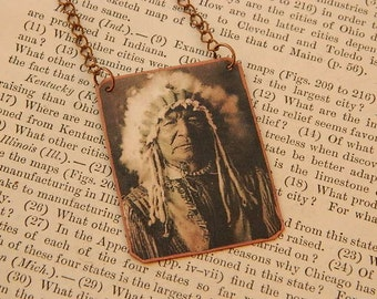 Sitting Bear necklace or pendant Native American inspired Jewelry mixed media jewelry