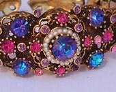 Weiss Rhinestone Pearl Cuff Bracelet Earring Set