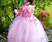 Pink and White Tutu Dress Sleeping Beauty Aurora Princess Costume Empire Waist Babydoll Style with Flower and Ribbons Halloween Costume
