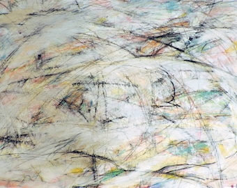 8-27-14 (blue / black / grey / white / gold abstract expressionist painting )