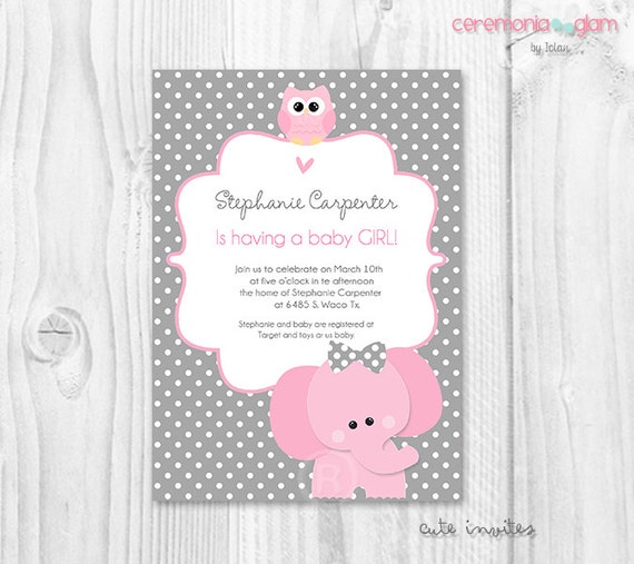 Items Similar To Elephant Baby Shower Girl Invitation, Elephant And Owl  Pink And Grey Polka Dot Printable Invitation, Pink Elephant Baby Shower  Invite On ...