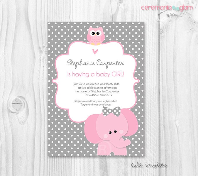 elephant baby shower girl invitation elephant and owl pink
