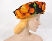 Vtg Hat in Bright Orange & Yellow Floral on Black Velveteen