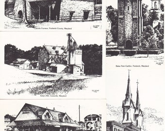"""Lot of 5 Ca. 1986 """"Maryland Scenes"""" by Artist S E Kemp - 319"""