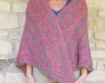 Coral Variegated Heather Hand Knitted Triangle Shawl