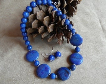 19 Inch Chunky Blue Copper Jasper Disk Necklace with Earrings