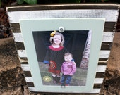 Distressed 5x7 Frame, Wood Plank Frame, Rustic Picture Frame, 5x7 Picture Frame, Brown Stripes, Striped Frame