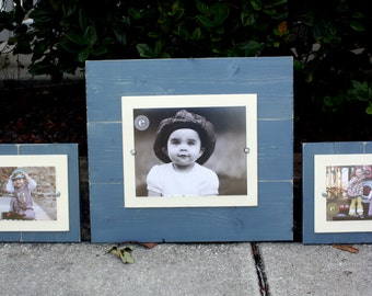 Distressed Picture Frame, Wood 8x10 Frame, Blue Picture Frame,  8x10 Picture Frame, Wood Plank Frame