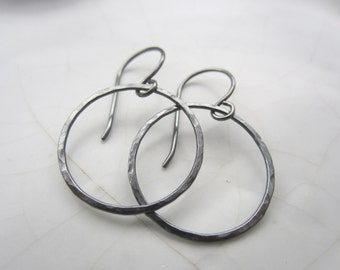 1 Pair Circle Earrings--24 mm, Oxidized Sterling Silver