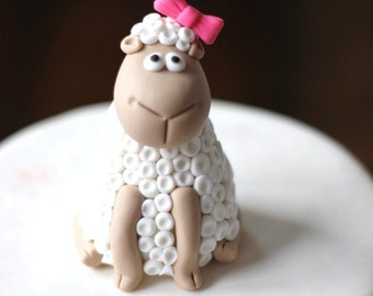 Fondant Cake Topper - Whimsical 3D Fondant Sheep Cake Topper