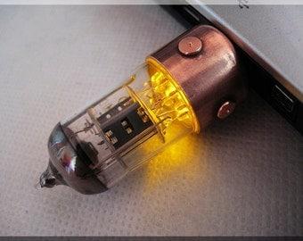 Mega Sale - 25% !!!  8GB ORANGE Pentode radio vacuum tube usb flash drive. Steampunk/Fallout style  !!!FREE shipping!!!