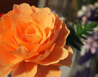 Crepe Paper Peony - Single Flower, paper flower, home decor, birthday, anniversary , get well soon