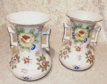 Oriental Floral Motif Vase Pair Gold Castle Unique Side Handles