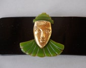 Antique Bakelite Clown Buckle Late Art Deco Black Carved Green Gold Tone Figural Large Statement Early 1940's // Vintage Buckle Accessory