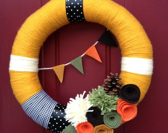 Fall Banner Felt Yarn Wreath with Felt Flowers and Pinecone