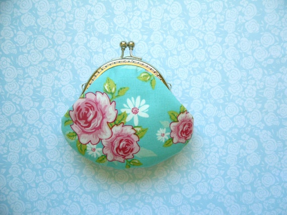 Rosy Blue Small Clutch / Coin Purse - Made from Tilda Fabric - Bridesmaid Gift, Birthday Gift, Holiday Gift