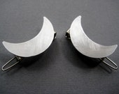Crescent Moon Hair Clips- silver moon barrette hair accesories