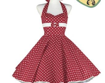 50's vintage dress red white polka dots embellished back Tailor Made after your measurements #0082