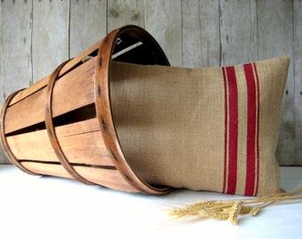 Burlap Pillow / Grain Sack Pillow / Cottage Pillow / Beach Pillow / Rustic Decor / Farmhouse Pillow / Choose Burlap and Stripe Color