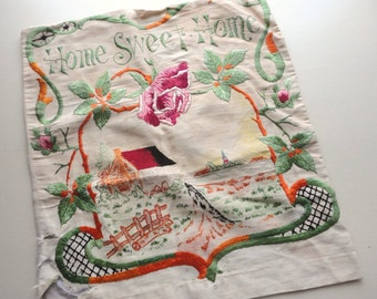 home sweet home vintage embroidered pillow cover