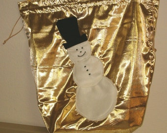 Gold Fabric Gift Bag With Snowman