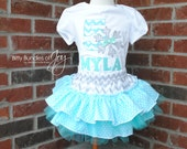Personalized Frozen Themed Sparkly Sequin Gray, Silver, and Aqua Snowflake Birthday Outfit Including Quadruple Ruffled Tulle Skirt and Shirt