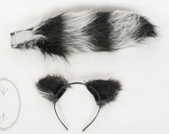 """SMALL Raccoon Furry Ear and/or 16"""" Tail with black tip Set Cosplay, Accessories, Costume - for Kids or Adults"""
