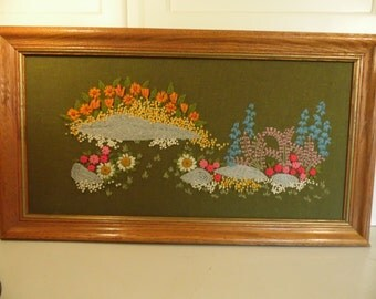 Crewel Wall Hanging Quinella Needlework Soft Size Art Shabby Decor Home Decor DottieDigsVintage