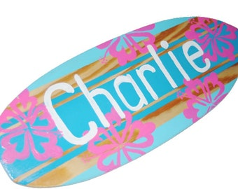 Personalized Beach Sign, Small Surfboard Wall Hanging, Surfer Girl Decor, 18 inch