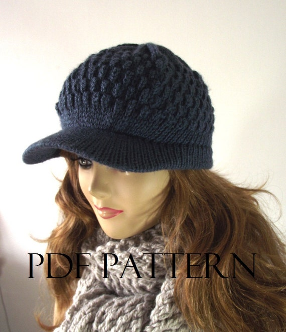 KNITTING HAT PATTERN Newsboy woman Hat Knitted by LiliaCraftParty