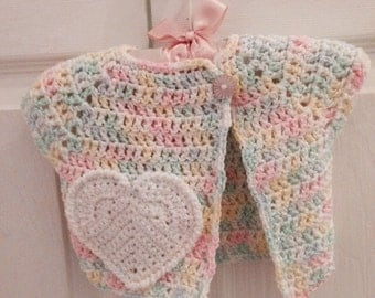 3-6 Months Pink blue green and yellow baby girl Crochet Sweater