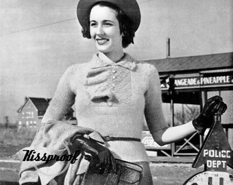 """Vintage 30's Pattern - Knitted """"BLOUSE"""" Sweater in ANGORA - PDF Pattern - Instant Download"""