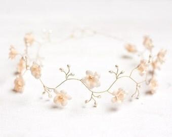 52_Wedding headband, Floral tiara pearl, Headband, Bridal headband, Wedding hair accessories, Floral tiara pearl, Headband bridesmaids, Halo