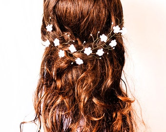 23_Boho wedding, Headband boho wedding, Hair piece boho wedding, Headband flowers, Boho wedding hair accessories, Halo boho wedding.