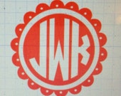 Scalloped Circle with Solid Monogram Car Decal
