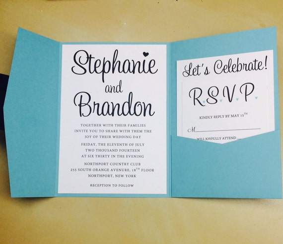 Blue Wedding Invitations By Fromtheheartgraphics On Etsy