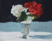 Flowers in Vase, Still Life Painting, Oil on FLAT wood panel, 8x10 inch Canadian Fine Art