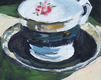 Tea Cup Still Life Painting, Oil on wood panel, 6x6 inches, Fine Art