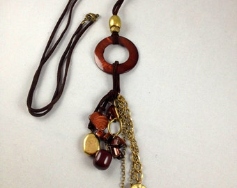 Wild Earth Lariat Style Necklace   Suede and Bronze Necklace  Sweater Necklace