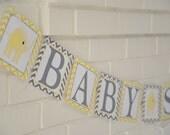 Elephant Baby Shower, mod elephant, banner, Baby Shower banner, Baby Shower, Elephant banner, Yellow and grey banner