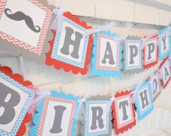 """Mustache Bash Happy Birthday banner, birthday Chevron """"Little Man"""" Banner, red turquoise grey"""