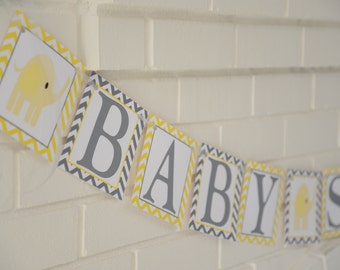 Elephant Baby Shower, mod elephant, banner, Baby Shower banner, Baby Shower, Elephant banner, Yellow and grey banner